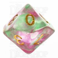 TDSO Pearl Swirl Rose & Green D10 Dice