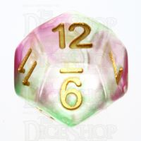 TDSO Pearl Swirl Rose & Green D12 Dice