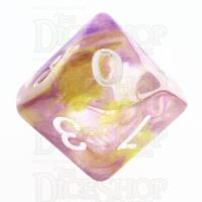 TDSO Pearl Swirl Purple & Yellow D10 Dice