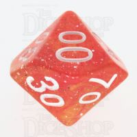 TDSO Galaxy Glitter Red & Yellow Percentile Dice