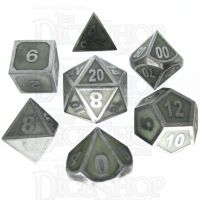 TDSO Metal Fire Forge Steel & Green Glow In The Dark 7 Dice Polyset
