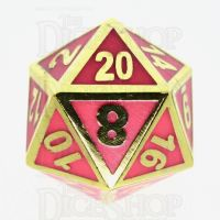 TDSO Metal Fire Forge Gold & Rose Glow In The Dark D20 Dice