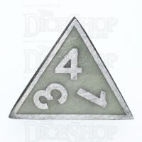 TDSO Metal Fire Forge Steel & Green Glow In The Dark D4 Dice