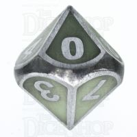 TDSO Metal Fire Forge Steel & Green Glow In The Dark D10 Dice