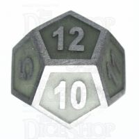 TDSO Metal Fire Forge Steel & Green Glow In The Dark D12 Dice