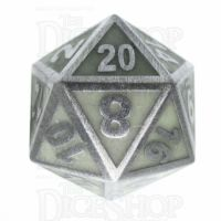 TDSO Metal Fire Forge Steel & Green Glow In The Dark D20 Dice
