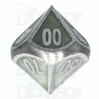 TDSO Metal Fire Forge Steel & Green Glow In The Dark Percentile Dice
