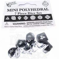 Koplow Opaque Black & White MINI 10mm 7 Dice Polyset