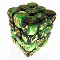 TDSO Duel Black & Green With Yellow 36 x D6 Dice Set