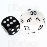 Tessellations Opaque White JUMBO 27mm Numerically Balanced D30 Dice