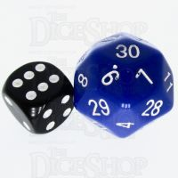 Tessellations Opaque Blue JUMBO 27mm Numerically Balanced D30 Dice