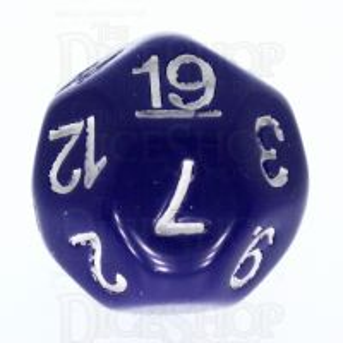 Impact Opaque Purple & White D19 Dice