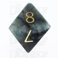 TDSO Emerald with Engraved Gold Numbers 16mm Precious Gem D8 Dice