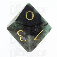 TDSO Emerald with Engraved Gold Numbers 16mm Precious Gem D10 Dice