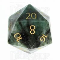 TDSO Emerald with Engraved Gold Numbers 16mm Precious Gem D20 Dice