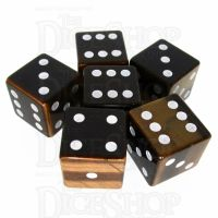 TDSO Tiger Eye Gold with Engraved Spots 16mm Precious Gem 6 x D6 Dice Set