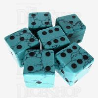TDSO Turquoise Green Synthetic with Engraved Spots 16mm Precious Gem 6 x D6 Dice Set