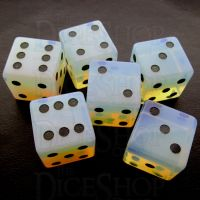 TDSO Opalite with Engraved Spots 16mm Precious Gem 6 x D6 Dice Set