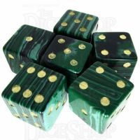 TDSO Malachite Green Synthetic Turquoise with Engraved Spots 16mm Precious Gem 6 x D6 Dice Set