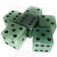 TDSO Aventurine Green with Engraved Spots 16mm Precious Gem 6 x D6 Dice Set