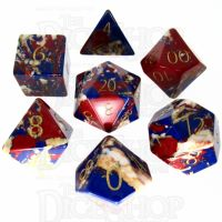 TDSO Multi Fire Synthetic Turquoise with Engraved Numbers 16mm Stone 7 Dice Polyset
