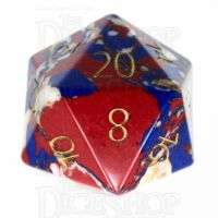 TDSO Multi Fire Synthetic Turquoise with Engraved Numbers 16mm Stone D20 Dice