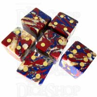 TDSO Multi Fire Synthetic Turquoise with Engraved Spots 16mm Stone 6 x D6 Dice Set