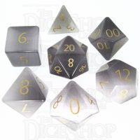 TDSO Cats Eye Grey with Engraved Numbers 16mm Precious Gem 7 Dice Polyset