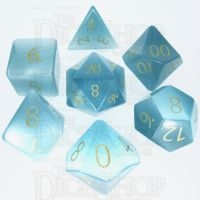 TDSO Cats Eye Mint Blue with Engraved Numbers 16mm Precious Gem 7 Dice Polyset