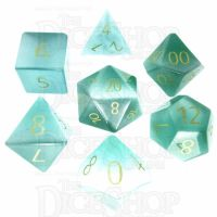 TDSO Cats Eye Mint Green with Engraved Numbers 16mm Precious Gem 7 Dice Polyset