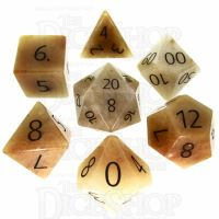TDSO Jade Yellow with Engraved Numbers 16mm Precious Gem 7 Dice Polyset
