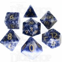 TDSO Sodalite Light with Engraved Numbers 16mm Precious Gem 7 Dice Polyset