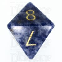 TDSO Sodalite Light with Engraved Numbers 16mm Precious Gem D8 Dice