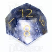 TDSO Sodalite Light with Engraved Numbers 16mm Precious Gem D12 Dice