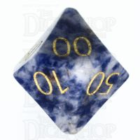 TDSO Sodalite Light with Engraved Numbers 16mm Precious Gem Percentile Dice
