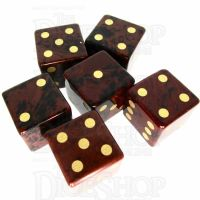 TDSO Obsidian Mahogany with Engraved Spots 16mm Precious Gem 6 x D6 Dice Set