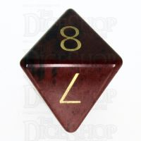 TDSO Obsidian Mahogany with Engraved Numbers 16mm Precious Gem D8 Dice