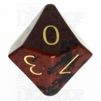 TDSO Obsidian Mahogany with Engraved Numbers 16mm Precious Gem D10 Dice