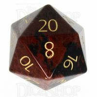 TDSO Obsidian Mahogany with Engraved Numbers 16mm Precious Gem D20 Dice