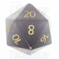 TDSO Cats Eye Grey with Engraved Numbers 16mm Precious Gem D20 Dice