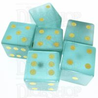 TDSO Cats Eye Mint Green with Engraved Numbers 16mm Precious Gem 6 x D6 Dice Set