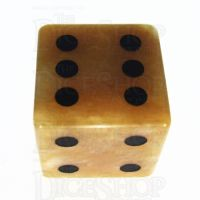TDSO Jade Yellow with Engraved Spots 16mm Precious Gem D6 Dice