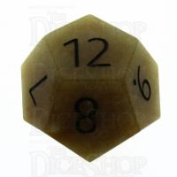 TDSO Jade Yellow with Engraved Numbers 16mm Precious Gem D12 Dice