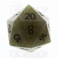 TDSO Jade Yellow with Engraved Numbers 16mm Precious Gem D20 Dice
