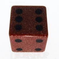 TDSO Goldstone Gold with Engraved Spots 16mm Precious Gem D6 Dice