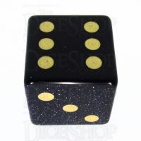 TDSO Goldstone Blue with Engraved Spots 16mm Precious Gem D6 Dice