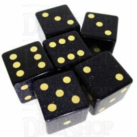 TDSO Goldstone Blue with Engraved Spots 16mm Precious Gem 6 x D6 Dice Set