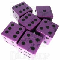 TDSO Turquoise Purple Synthetic with Engraved Spots 16mm Precious Gem 6 x D6 Dice Set