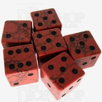TDSO Turquoise Red Synthetic with Engraved Spots 16mm Precious Gem 6 x D6 Dice Set