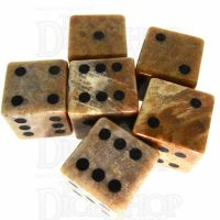 TDSO Fossilised Coral with Engraved Spots 16mm Precious Gem 6 x D6 Dice Set